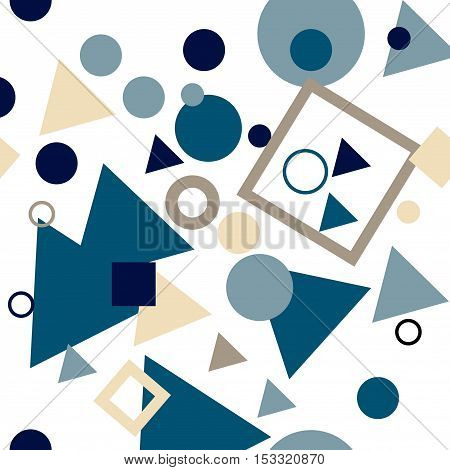 Vector seamless pattern with repeating circles, squares and triangles. Regular hipster background. Minimalistic ornament