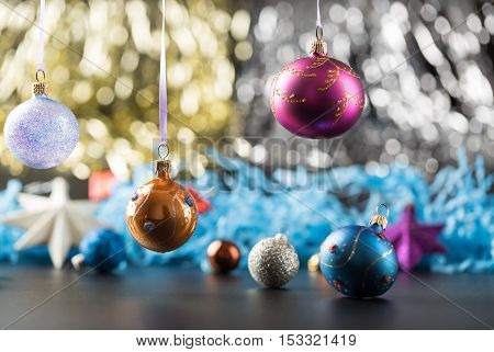 Christmas and new years holidays decorations with glitter background