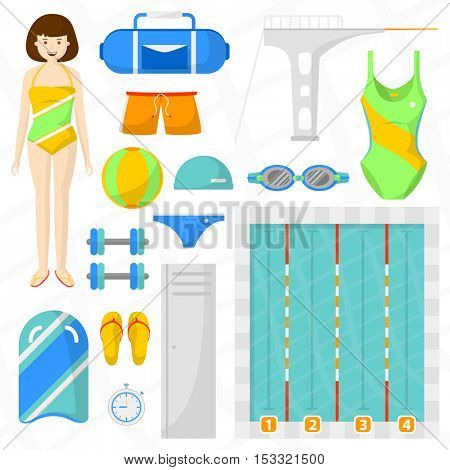 Set of flat swimming icons. Sports equipment for swim and jumping: pool with water and ball, towel, bag and swimmer, board, swimwear. Vector isolated illustration