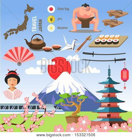 Set of Japan/Tokyo, and East culture symbols. Collection icons: Japanese pagoda and Fuji, geisha and sumo wresler, sakura, bonsai, tea and sushi, origami and fan. Asia vector illustrations.