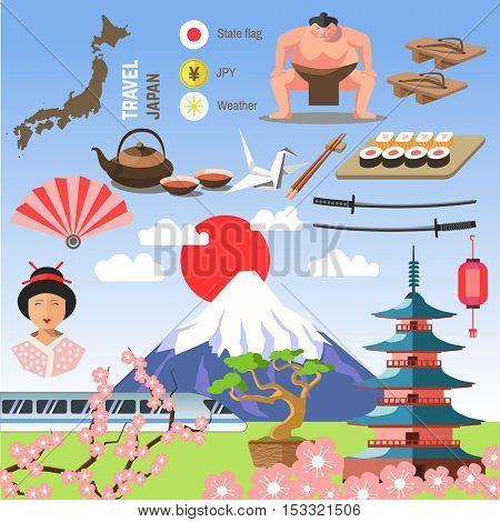 Set of Japan/Tokyo, and East culture symbols. Collection icons: Japanese pagoda and Fuji, geisha and sumo wresler, sakura, bonsai, tea and sushi, origami and fan. Asia vector illustrations.