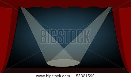 Background scene. The scene with spotlights directed at the center of the scene. Vector