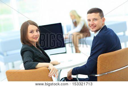 Business presentation on  computer