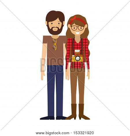 hipster couple man and woman smiling with camera around his neck. vector illustration