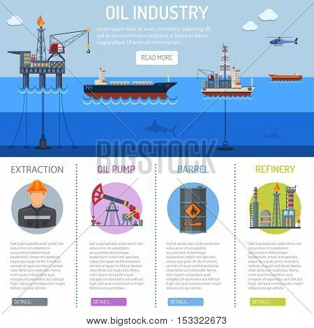 Oil industry Infographics with Flat Icons extraction refinery and transportation oil and petrol with oil pump, oil platform and cargo tank. vector illustration.