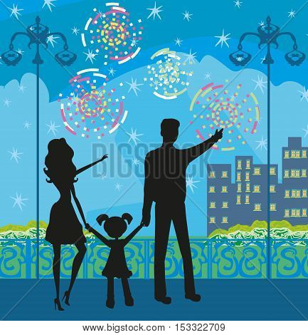 happy family watching the fireworks , vector illustration