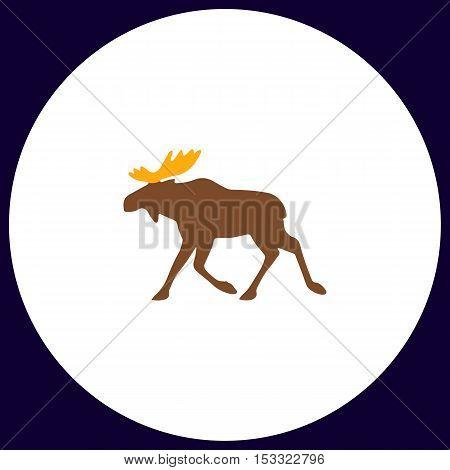 Moose Simple vector button. Illustration symbol. Color flat icon