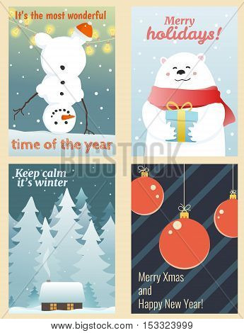 Cute winter greetings cards with hand-drawn cartoon white bear snowman xmas balls and fir forest. Vector illustrations aspect ratio for each one 5:7