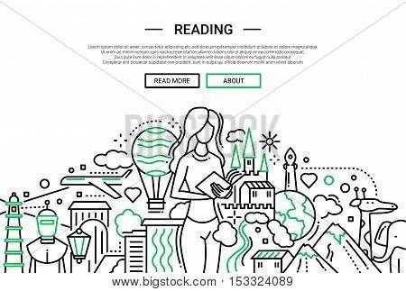 Illustration of vector modern plain line flat design website banner, header with female