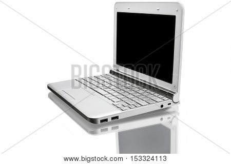 open silver netbook with reflected shadow isolated on white
