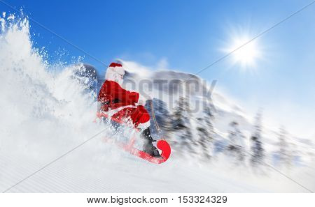 Santa Claus running downhill on sledge, Alpine panorama on background