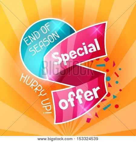 Sale banner. Advertising flyer for commerce, discount and special offer.