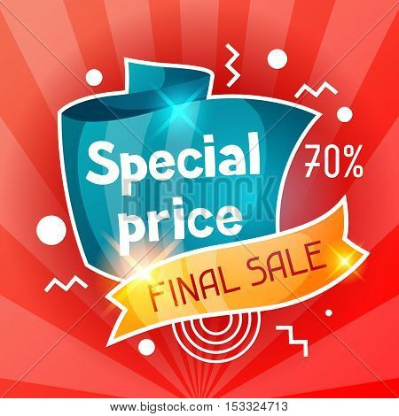 Special price. Sale banner. Advertising flyer for commerce, discount and offer.