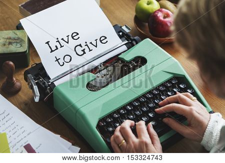 Live to Give Helping Hands Support Concept