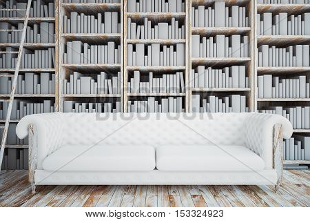 Front view of white leather sofa on bookshelves and ladder background. Library concept. 3D Rendering