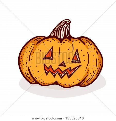 Halloween pumpkin clip-art, isolated on white. Hand drawn sketchy icon of jack-o-lantern, design element for halloween party invitation card, poster, greeting card, banner, coupon.