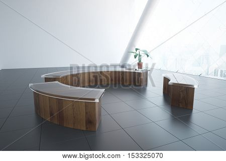 Side view of reception desks organized into circle in interior with tile floor decorative plant and panoramic window with city view. 3D Rendering