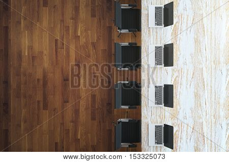 Top view of light table with laptops and chairs on wooden floor background. Mock up 3D Rendering
