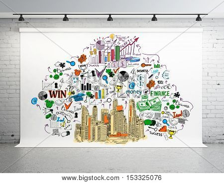 Large banner with creative colorful business sketch in white brick room. 3D Rendering