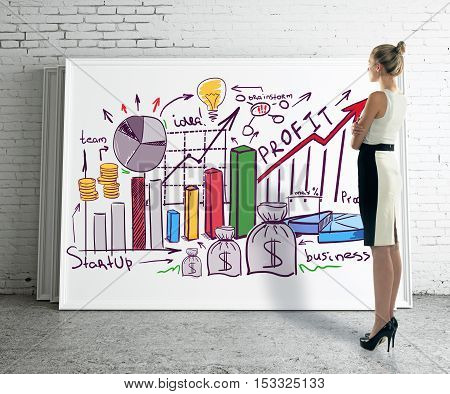 Side view of young businesswoman looking at whiteboard with creative financial sketch in brick room. Business presentation concept. 3D Rendering