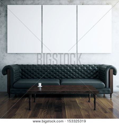 Front view of interior with blank posters leather sofa and coffee table. Mock up 3D Rendering