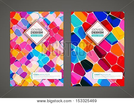 Abstract low polygonal colorful design background. Colored mosaic for background. Stained-glass mosaic. Flyer template. Brochure design template. Journal background design. Layout vector template.