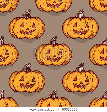 Halloween pumpkin seamless pattern. Hand drawn sketchy background with jack-o-lantern, design element for halloween party invitation card, wrapping, greeting card