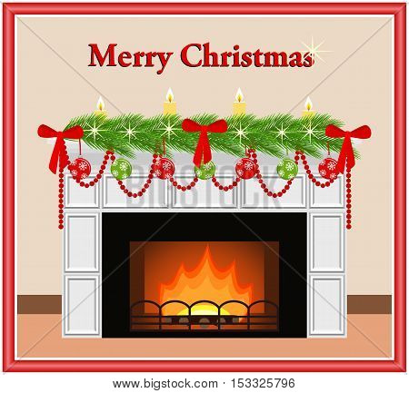 Merry Christmas - greeting card. Festive fireplace with red and green toys candles bows and fir branches in flat style. Vector illustration.