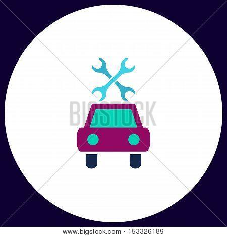 Car service Simple vector button. Illustration symbol. Color flat icon