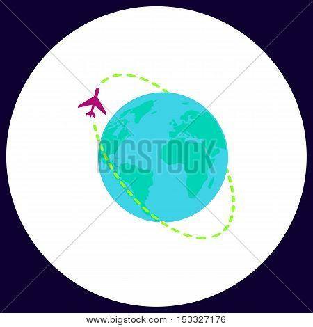 Air travel Simple vector button. Illustration symbol. Color flat icon