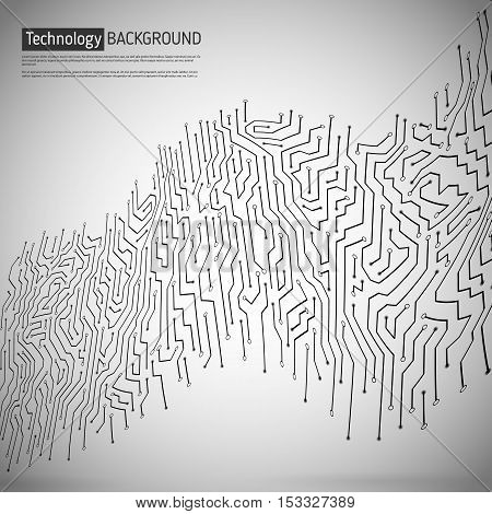 Technological vector background with a circuit board texture. Digital wave technologies abstract background