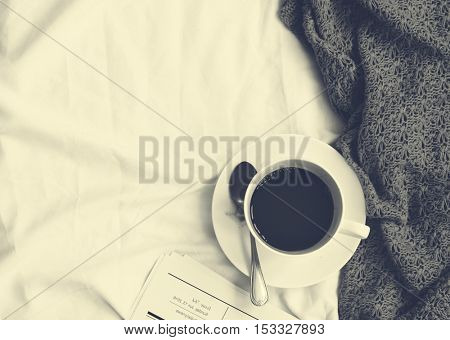 Coffee Americano Espresso Newspaper Bedroom Concept