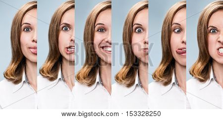 Half face collage of the same woman expressing different emotions over blue background
