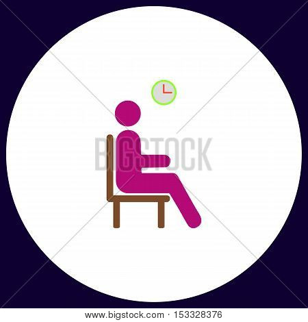 Waiting Simple vector button. Illustration symbol. Color flat icon