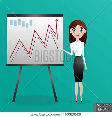 Business WOMAN next chart board. Indicates. Explains. Conducts Successful girl lecture. For your design.