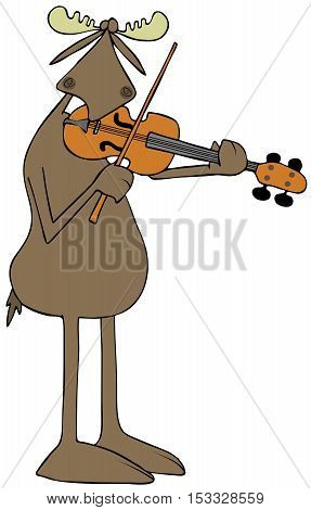 Illustration of a bull moose playing a violin.