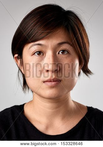 Portrait of real chinese asian woman with no expression ID or passport photo full collection of diverse face and expressions