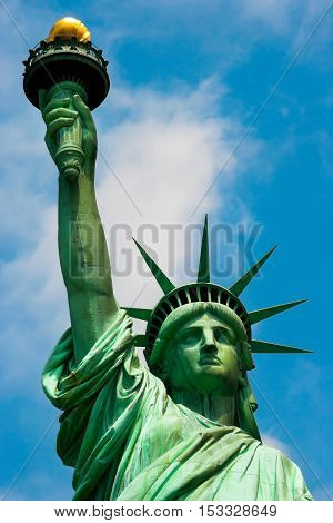 Close up of the Statue of Liberty in New York