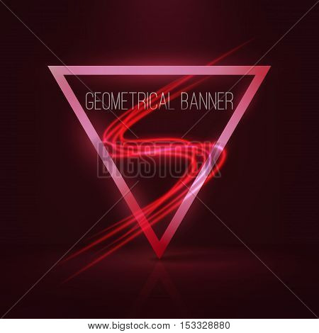 Geometrical banners with neon lights . 3d triangle vector banner with fire blurry circles at motion . swirl trail effect ,bokeh Abstract lights at motion exposure time . Light painting on banner .