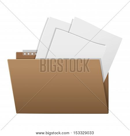 document folder with sheets office object icon over white background. vector illustration