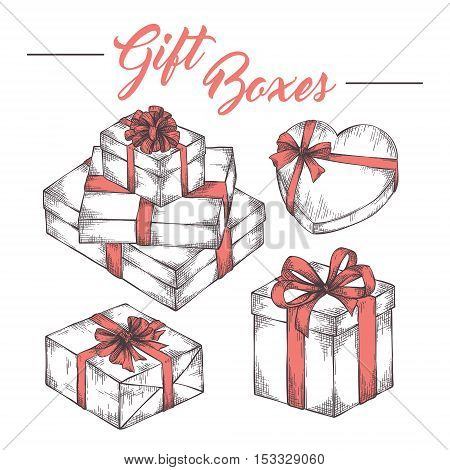 Collection of hand drawn cketch graphic gift boxes with ribbons and bows. Christmas, New Year, Birthday celebration present logo, icon, card