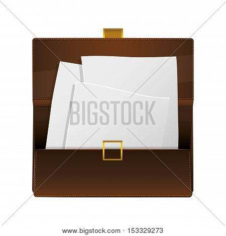 brown briefcase with paper pages. business accessory icon over white background. vector illustration