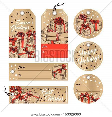 Collection of gift tags, badges, labels template in retro style. Set of gift paper tags with hand drawn graphic sketch of boxes with presents