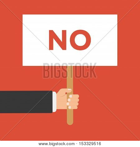 Businessmen holding a signboard with the word NO. Vector illustration in flat style isolated