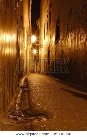Empty narrow street in down town Zagreb, Croatia