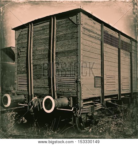 Stylized photo of an old railway car