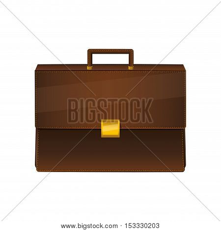 brown briefcase business accessory icon over white background. vector illustration