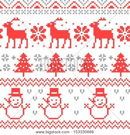 Merry Christmas Traditional Scandinavian Knitting Pixel Seamless Pattern with Reindeer and Christmas Tree. Vector background