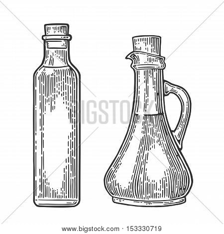 Bootle and Jug glass with liquid. Olive oil. Hand drawn design element. Vintage black vector engraving illustration for logotype poster web. Isolated on white background.