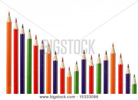 Business graph illustrating decrease made up of colored pencils